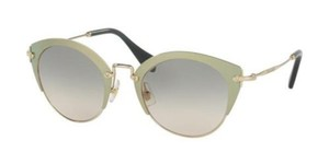 Miu Miu Miu Miu Women Cat Eye Sunglasses MU53RS UR39T1 Gold Frame Grey Lenses