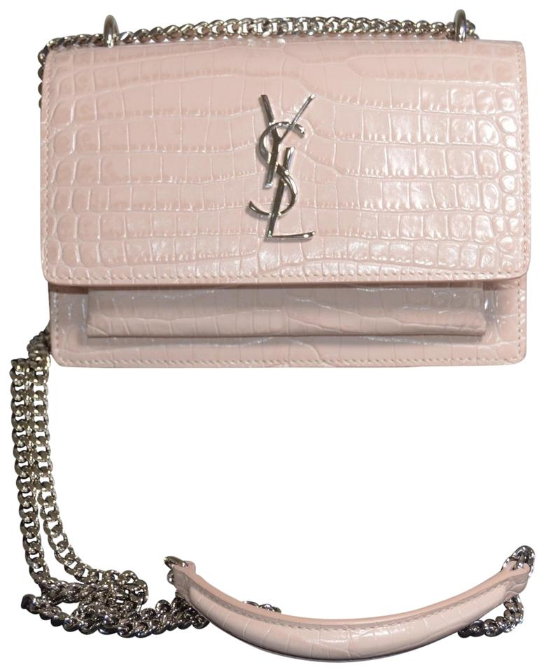 Saint Laurent Monogram Sunset Sunset Croc Embossed Marble Pink ... f1c5fd9c53411