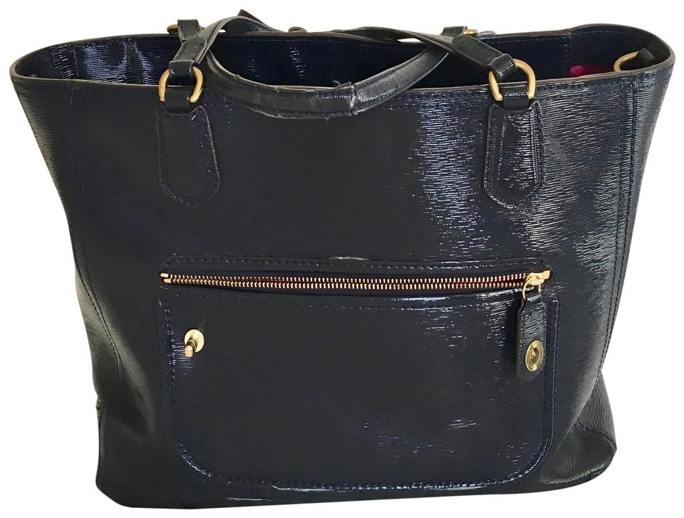 93ce299dc0 Coach Toe Navy Blue Patent Leather Tote - Tradesy