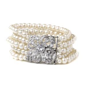 Elegance by Carbonneau Ivory Silver/Rhodium Vintage Art Deco Fresh Water Pearls Bracelet