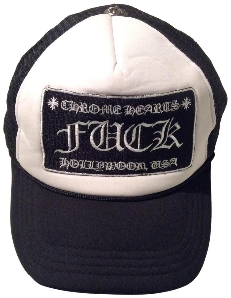eed33b01e3930 Chrome Hearts Mesh Trucker White  Black Cap Hat FU K Patch Hollywood USA  Image ...