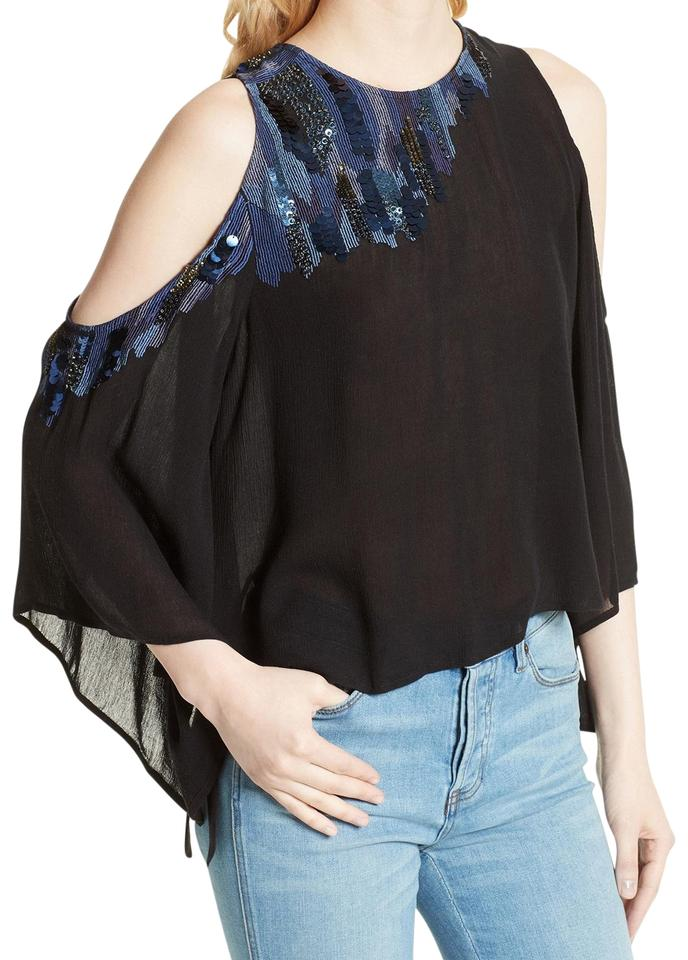 f0c541b5985ba Free People Black All About You Embellished Cold Shoulder Open Xs Blouse