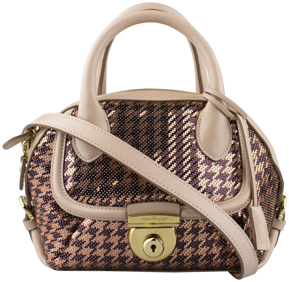1e8a0fa18703 Salvatore Ferragamo Sequin Mini Fiamma Handbag Beige Leather Satchel ...