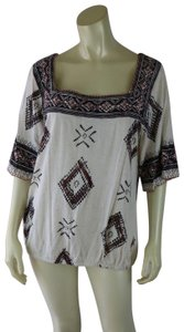 Lucky Brand Tribal Elastic Hem Bell Sleeves Embroidery Sweater