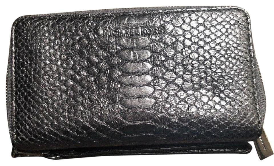 bffb05d0baac Michael Kors Pewter Gray Large Flat Multifunction Phone Case Python  Embossed Leather Wristet Wallet