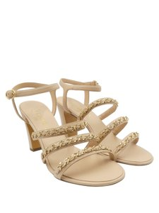 13be5027acce Chanel Blush Pink Nude Lambskin Leather Chain Ankle Strap 10/40 ...
