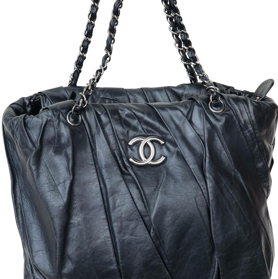7738b64e03d4 Chanel East West Black Glazed and Twisted Distressed Leather ...