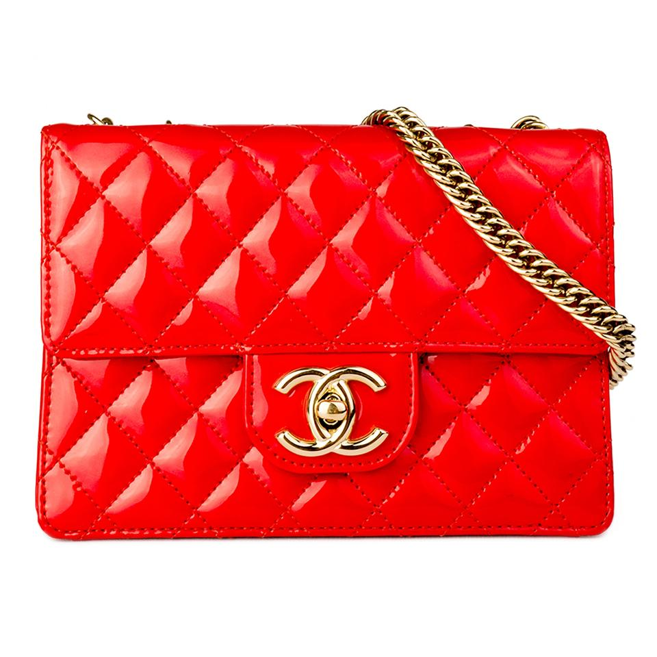 85f442b782a66c Chanel Classic Flap Mini Iridescent Red Patent Leather Shoulder Bag ...