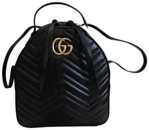 7841e0fcd857d1 Gucci Marmont Box New Mint Condition Dustbag Tag. Black Quilted Leather  Chevron Backpack