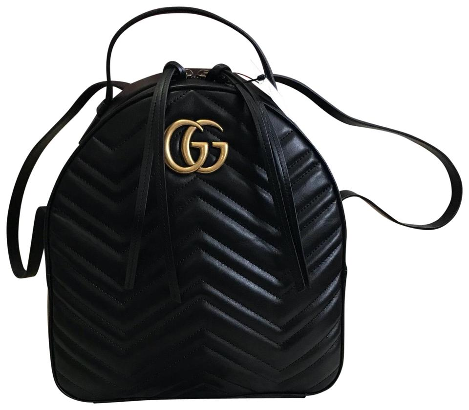 21f59b27a097 Gucci Marmont Box New Mint Condition Dustbag Tag. Black Quilted Leather  Chevron Backpack