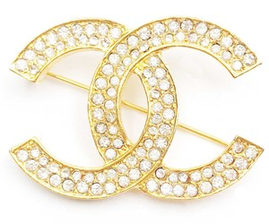 Chanel Chanel Vintage Classic 24K Gold Plated CC Silver Crystal Brooch