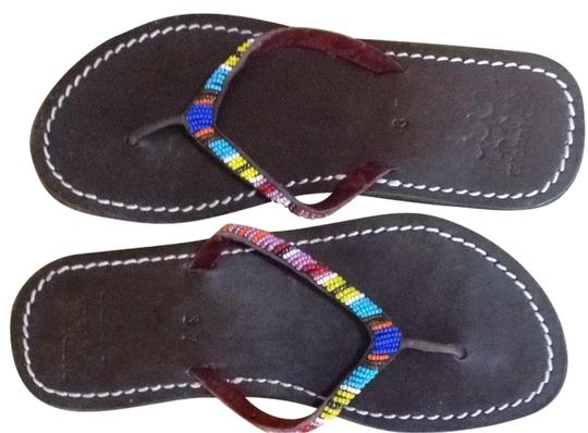 Global Girls Multi Colored Beads On Brown Leather Footbed Sandals