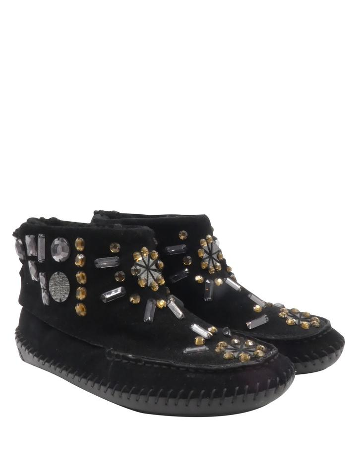 fe0d89047d89 Tory Burch Moccasin Suede Embellished Crystals Black Boots Image 0 ...