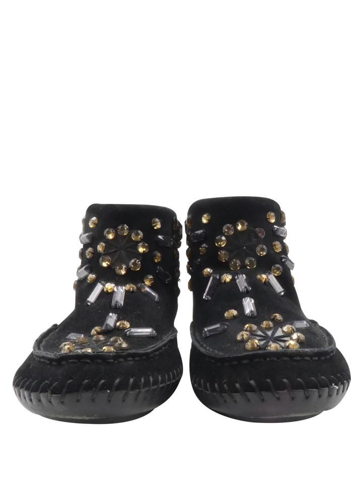 ad4826aa17f9 Tory Burch Moccasin Suede Embellished Crystals Black Boots Image 11.  123456789101112