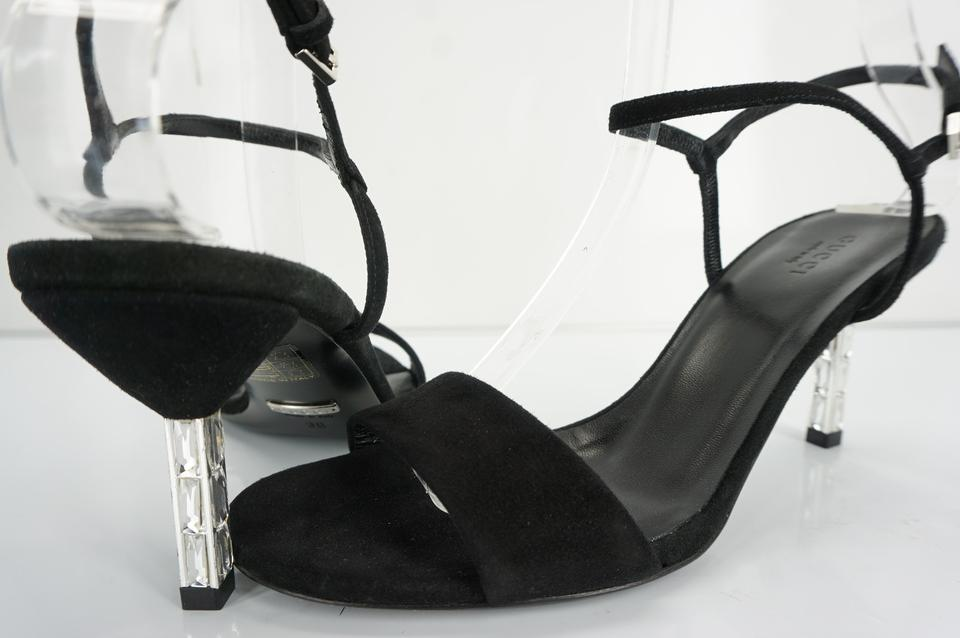 d2d36bbe1d6 Gucci Heels Crystal Heels Sandals Ankle Strap Black Pumps Image 8. 123456789