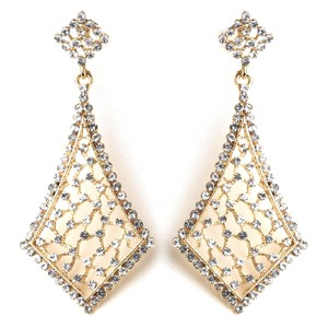 Elegance by Carbonneau Gold Vintage Clear Earrings