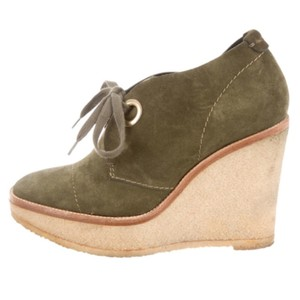 Saint Laurent Ysl Yves Leather Bootie Olive Wedges