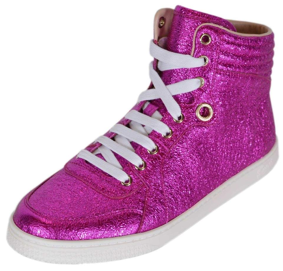 2437087a1bb Gucci Pink New Women s 409793 Galassia Shimmer High Top Trainers 38g ...