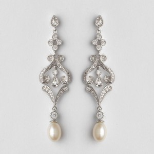 Elegance by Carbonneau Silver Vintage Cz Freshwater Pearl Earrings