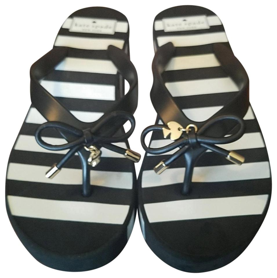 72431f7a7f6c Kate Spade Black White Rhett Flip Flop Thin Stripe M Sandals Size US ...