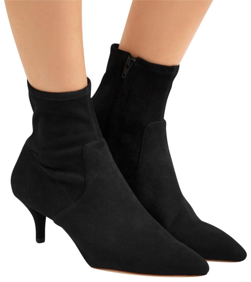 9d30eaf87131 Loeffler Randall Black Suede Kassidy Pointy Toe Stretch Sock Ankle Boots  Booties