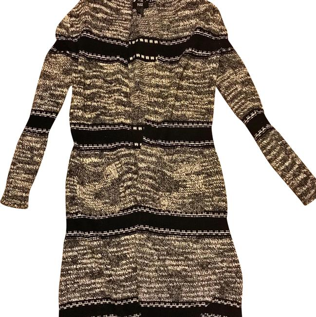 Item - Midnight Striped Knit Long Cardigan Black and White Sweater