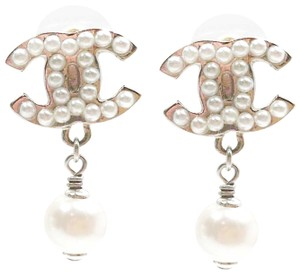 Chanel Chanel Classic Silver CC Pearl Dangle Piercing Earrings