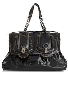 Fendi Patent Leather Buckles Tote in black