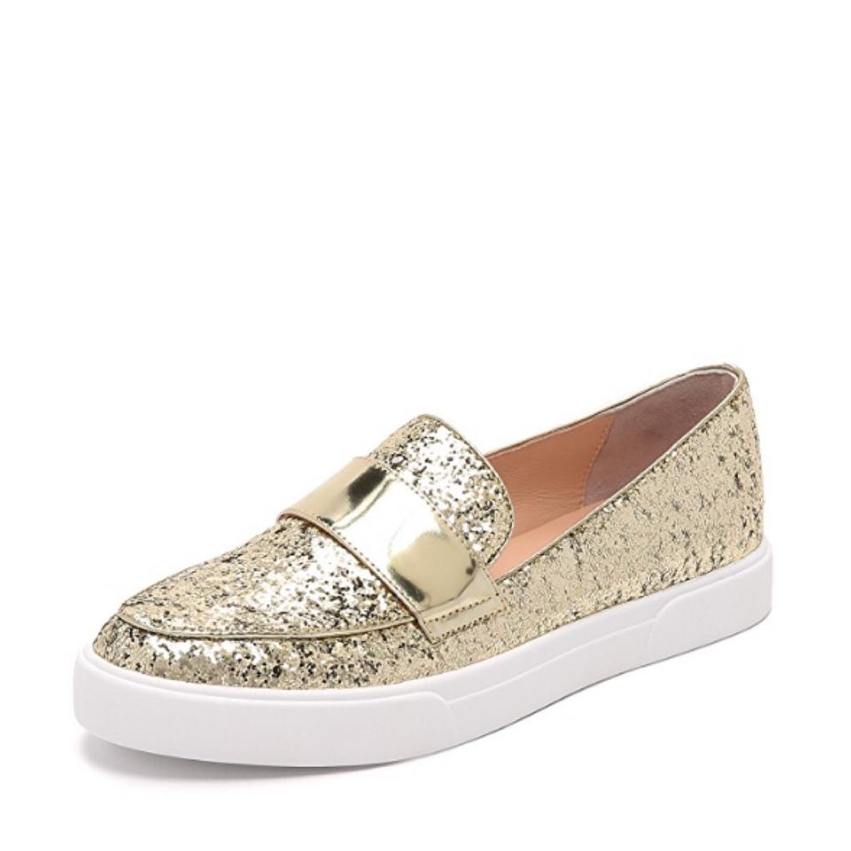 fa2cc61d292 Kate Spade Gold Glitter Glamour Clove Slip On Fashion Sneakers Flats ...