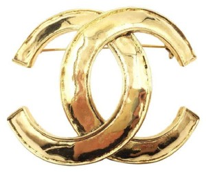Chanel Chanel Vintage Gold Plated Classic CC Large Brooch