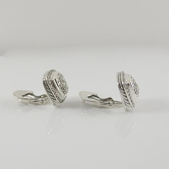 David Yurman David Yurman Sterling Silver 11mm Diamond Albion Clip-On Earrings Image 4