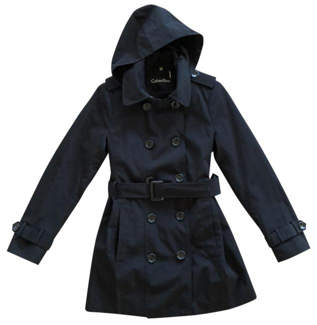 Item - Black Hooded Double Breasted Lightweight Rain Jacket Size 2 (XS)