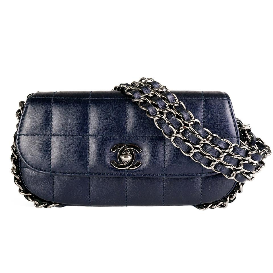 e57629d8c34 Chanel Classic Flap Clutch Dark Mini Chain Around Blue Clutch - Tradesy