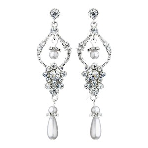 Elegance by Carbonneau Silver Antique Chandelier W/ Clear Rhinestones White Pearls Earrings