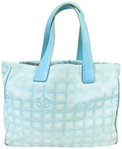 Chanel Leather Cc Traveline Logo Tote in Light Blue