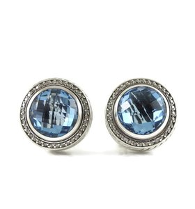 David Yurman David Yurman Sterling Silver Blue Topaz Diamond Cerise Earrings