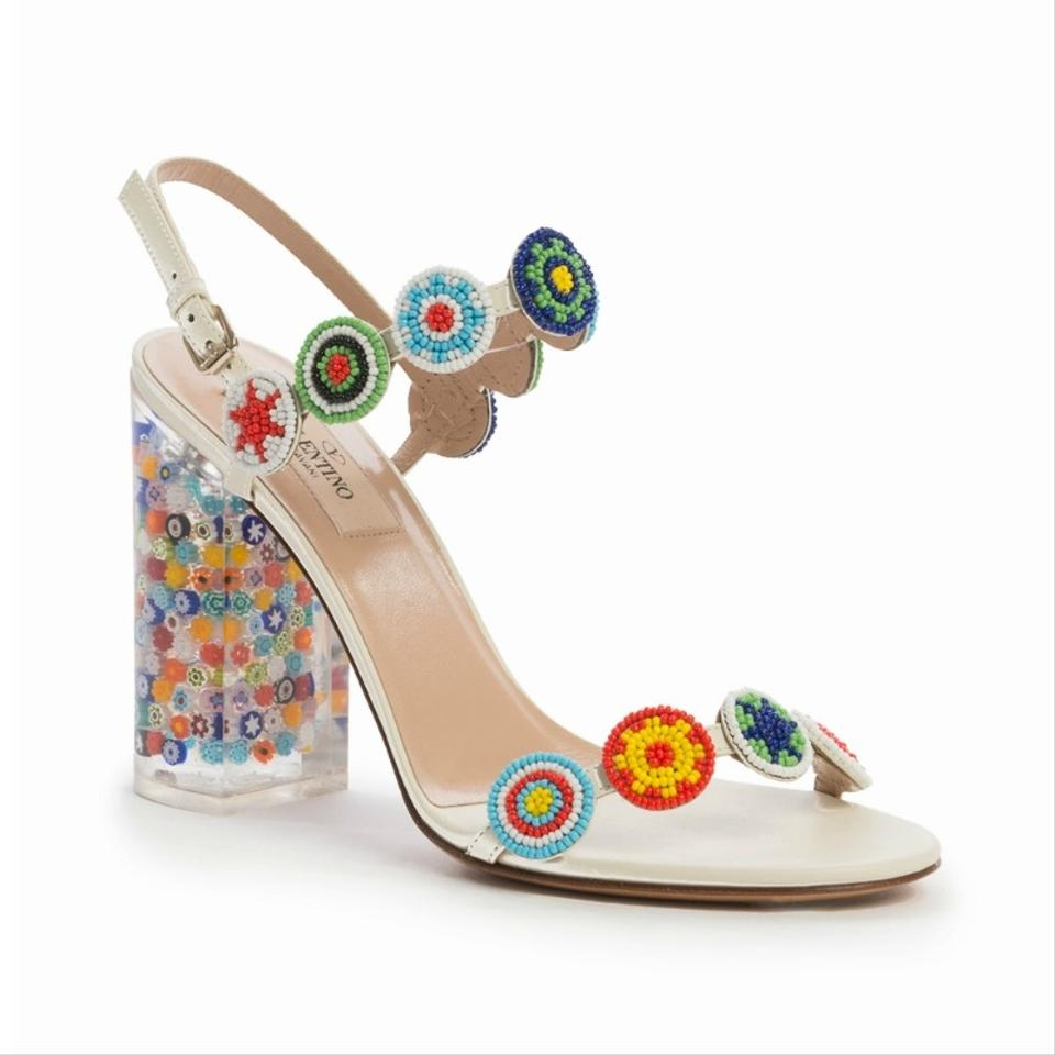 24a8a696e08 Valentino Multicolor Beaded Leather with Floral-lucite Heel Sandals Size EU  37.5 (Approx. US 7.5) Regular (M, B) 68% off retail