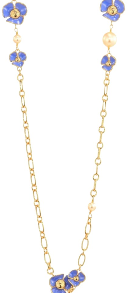 d8717ac47665 Tory Burch Blue  Gold Fleur Rosary Necklace - Tradesy
