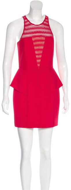 Item - Red Lace Inset Peplum Short Night Out Dress Size 2 (XS)