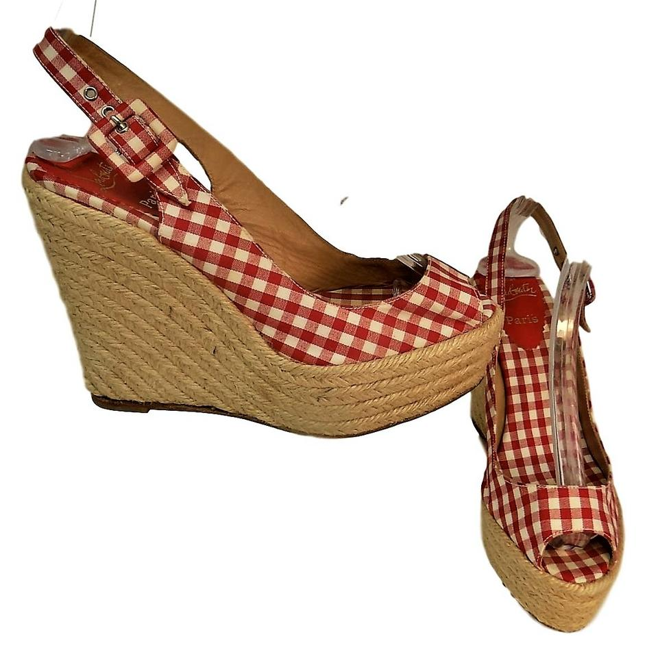 Christian Louboutin Red White Espadrille Wedges Open Toe Wedges Espadrille bca815
