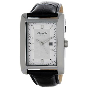 Kenneth Cole 10026926 Men's Black Leather Band With White Analog Dial Watch