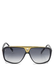 Louis Vuitton Louis Vuitton Black Gold Acetate Evidence Z0350W Aviator Sunglasses