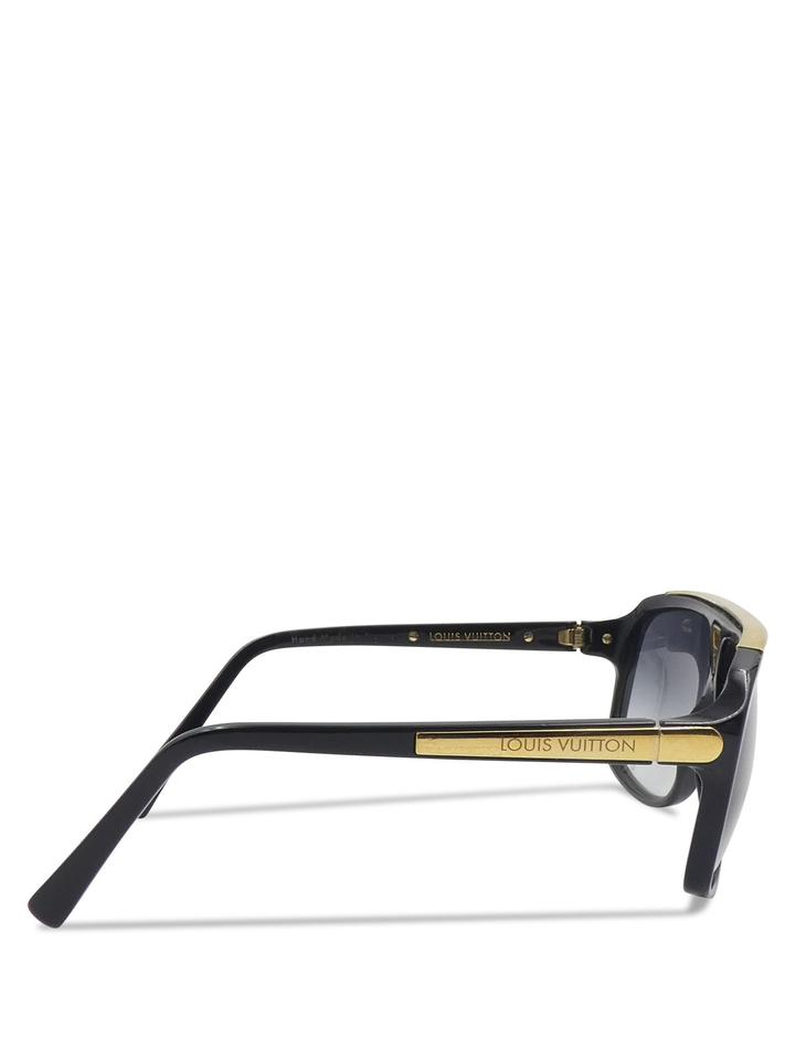33d8a50f43b50 Louis Vuitton Black Gold Acetate Evidence Z0350w Aviator Sunglasses -  Tradesy