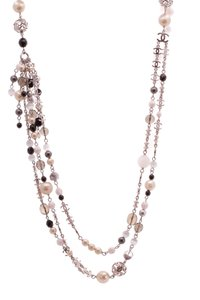 Chanel Chanel CC Bead Long Necklace - Silver