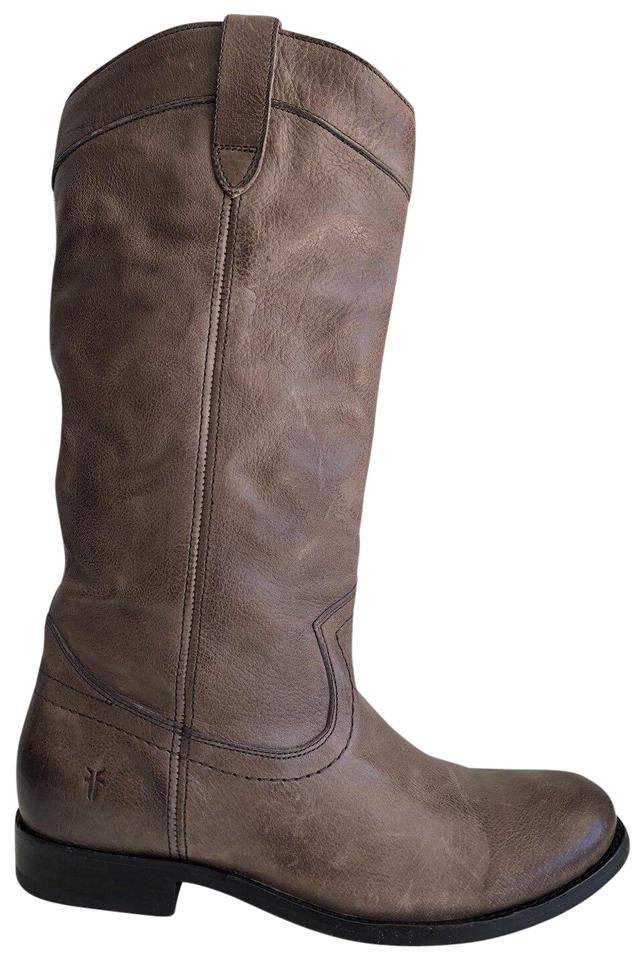 Frye Dark Taupe Melissa Pull Boots/Booties On Mid Calf Leather Boots/Booties Pull 3c4ea5