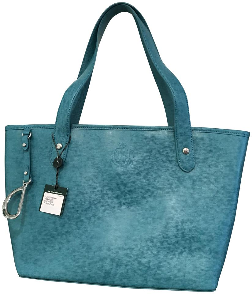 9ab608144aa6 Lauren Ralph Lauren Newbury Classic Shopper Medium-large Turquoise Blue  Saffiano Leather Tote