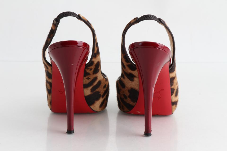 1b978879da2b Christian Louboutin Multicolor Leopard Print Pony Hair Peep Toe Slingback  Sandals Size US 8 Regular (M