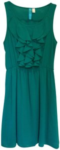 Buttons short dress Teal Green Ruffle Sleeveless on Tradesy