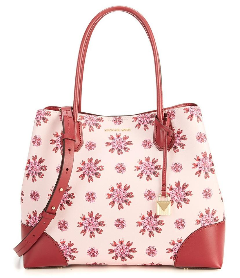 cbeb33039fd3 Michael Kors Mercer Gallery Large Jewel-print Soft Pink Ultra Pink Leather  Satchel