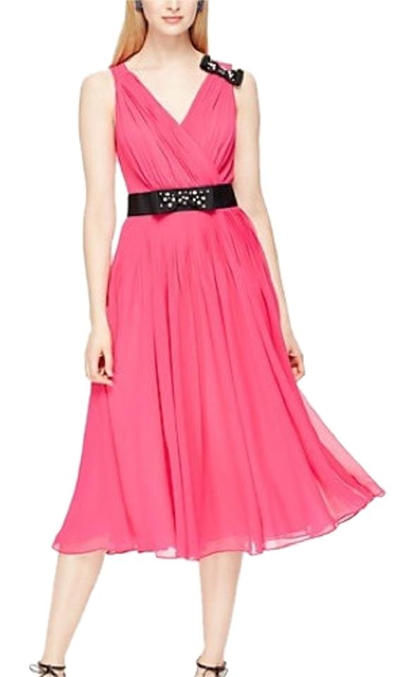 Kate Spade Pink Hot Embellished Bow Mid Length Tail Dress Size 10 M 57 Off Retail